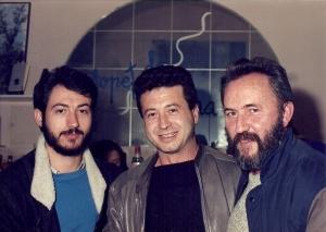 Amb els poetes Josep Ballester i Francesc Collado, a València, finals dels vuitanta.