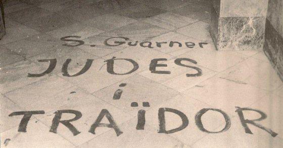 Pintades amenaçadores en el domicili del professor Sanchis Guarner a València després de la visita d'un violent escamot anticatalanista a finals dels setanta.