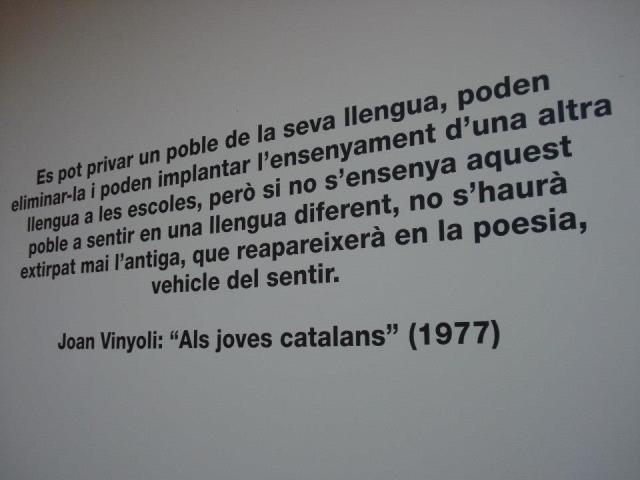 Text de Joan Vinyoli en l'exposició de l'Arts, La Revolta Poètica.