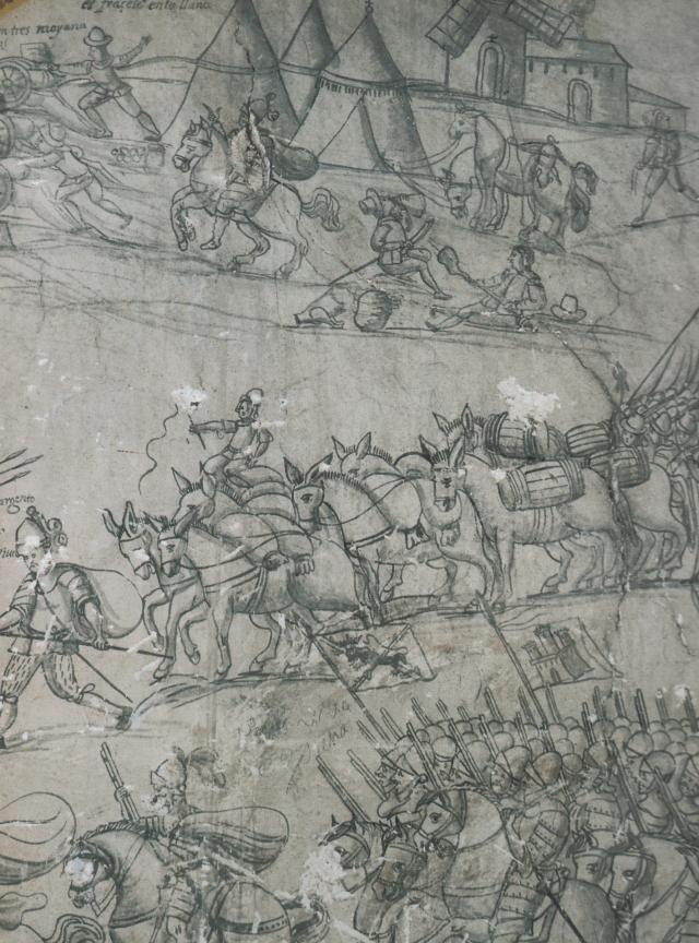 Fragment del mural al·legòric de l'assalt al castell de Salses que que es conserva al Molí dels Frares.