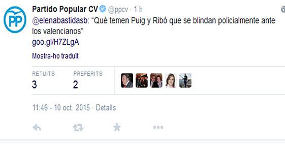 Piulada de la dirigent del PP, Elena Bastidas.