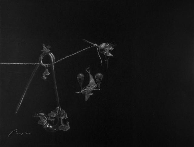 'Pendiente de un hilo', pintura de Miguel Àngel López González.