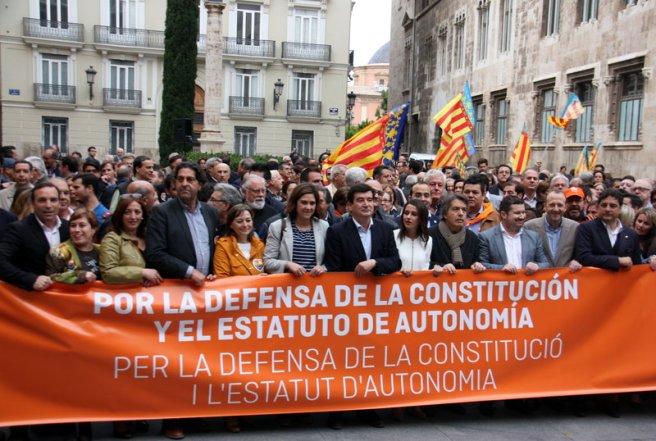 Concentració de C's a València com a contestació a l'homenatge a València organitzat per ACPV. Foto,  Agencia ACN