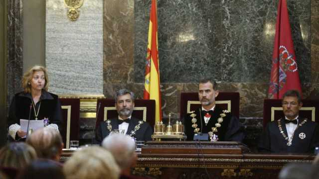 Madrigal durant la seva intervenció davant del rei amb motiu de la inauguració de l'any judicial 2016.