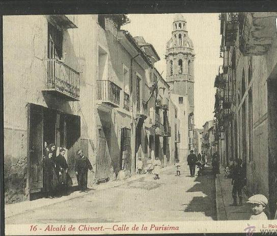 Imatge del centre d'Alcalà de Xivert de principis del segle XX.